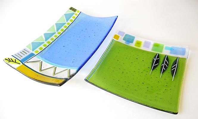 Sue King - Blue & Green Platters