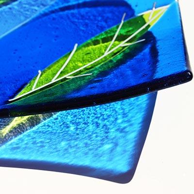 Sue King - Blue & Green Leaf Dish-Detail