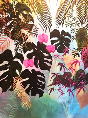 Living Wall Murals - Tropical Pink by Mary